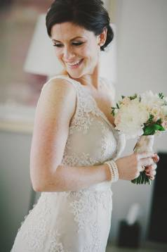 Fiona's Oyster Silk & Ivory Lace Gown