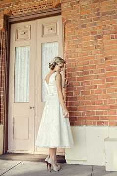 Rose Embroidered Tulle and Silk Satin Tea-Length Gown