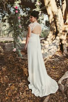 Isobella Silk Crepe and Lace Gown