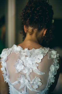 Sarah's Lace and Oyster Silk Wedding Gown