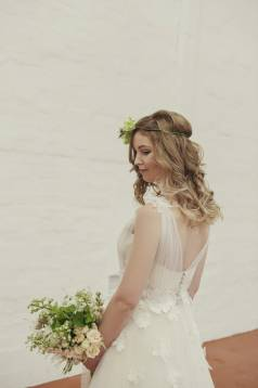 Hayley Textural Flower and Tulle Wedding Gown