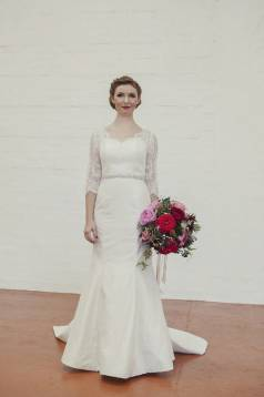 Abigail Structured Silk Wedding Gown with Lace Sleeves
