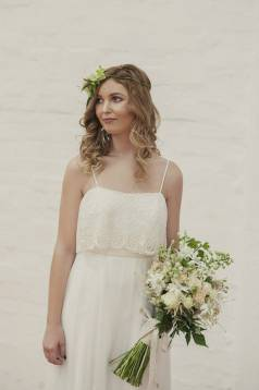 Jade Silk and Lace Boho Wedding Dress