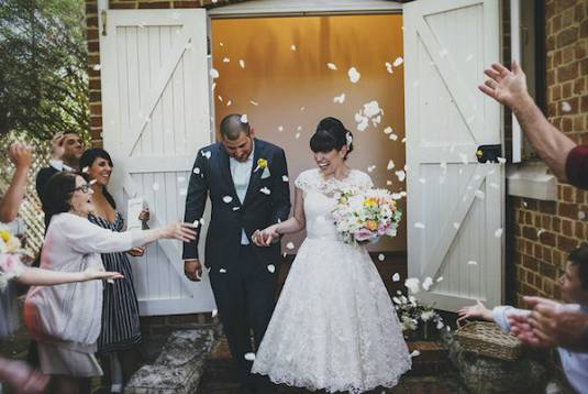 Chantelle's Lace Tea Length Wedding Dress