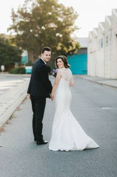 Claire's Elegant Silk Wedding Gown