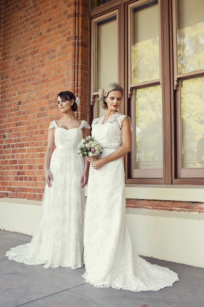 Esther Lace and Silk Dupion Gown and Matilda Beaded Lace and Silk Satin Gown