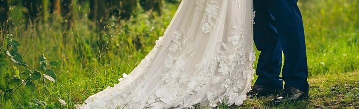 Sarah's Floral and Oyster Silk Wedding Gown