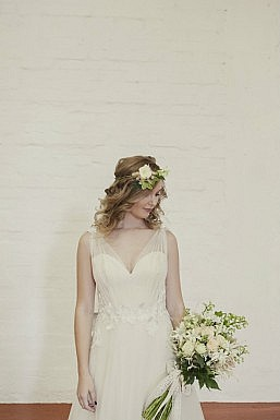 Hayley Textured Floral and Tulle Wedding Gown