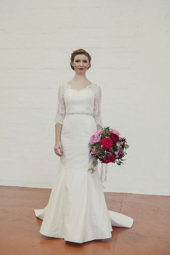 Abigail Wedding Dress with Lace Sleeves