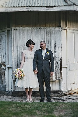 custom made Vintage tea length wedding gown