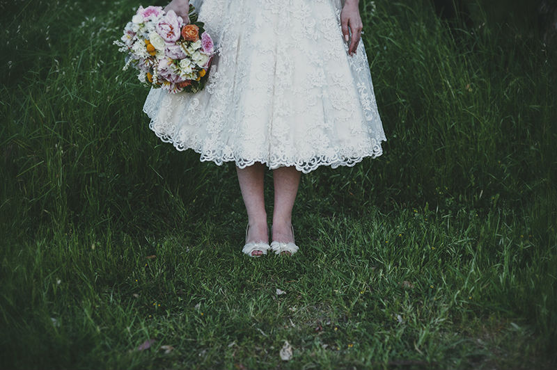 Chantelle's Tea Length Lace Wedding Dress