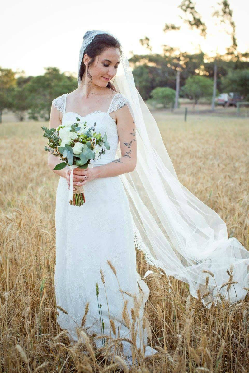Mariana's Lace Wedding Gown and Lace Edge Veil