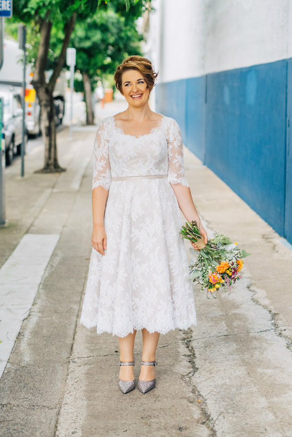 Kristin's Silk and Lace Tea Length Wedding Dress