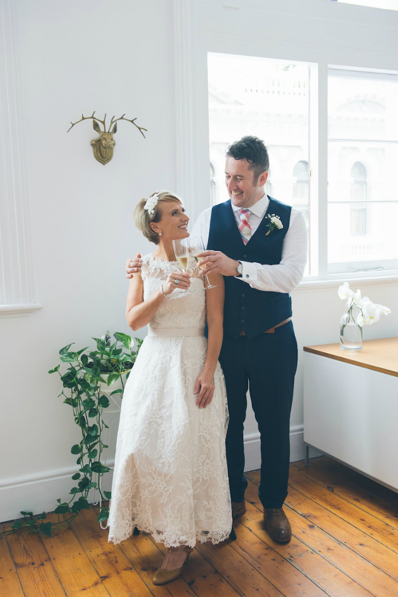 Sheree's Blush Pink Tea Length Wedding Dress