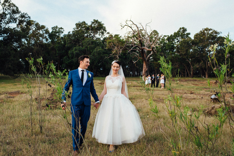 Rachel's Lace and Tulle Tea Length Wedding Gown
