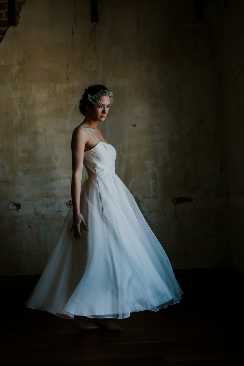 Anna Ballerina Length Wedding Dress with Silk Organza Overlay