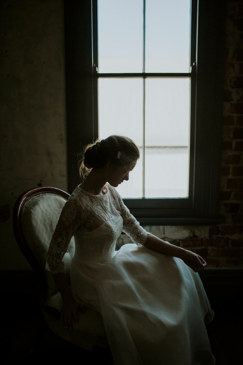 Anna Ballerina Length Wedding Dress with Silk Organza Overlay with Removable Lace Sleeve Top