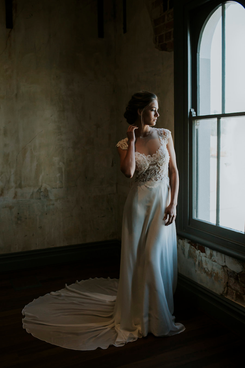 Eleanor Couture Wedding Dress with Illusion Lace Mesh Beaded Bodice and a Soft Silk Chiffon Skirt