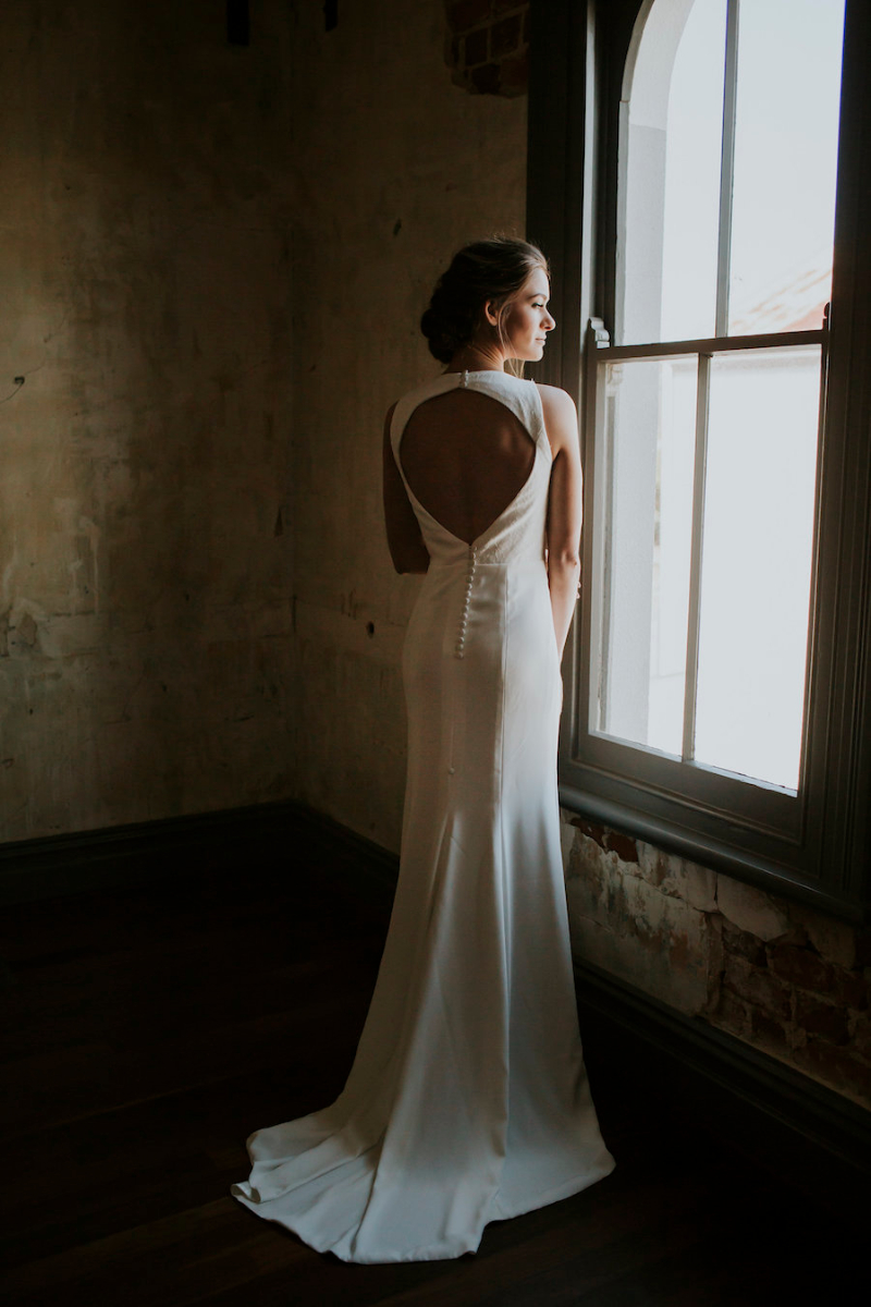 Rosie Minimal Wedding Gown with Keyhole Back