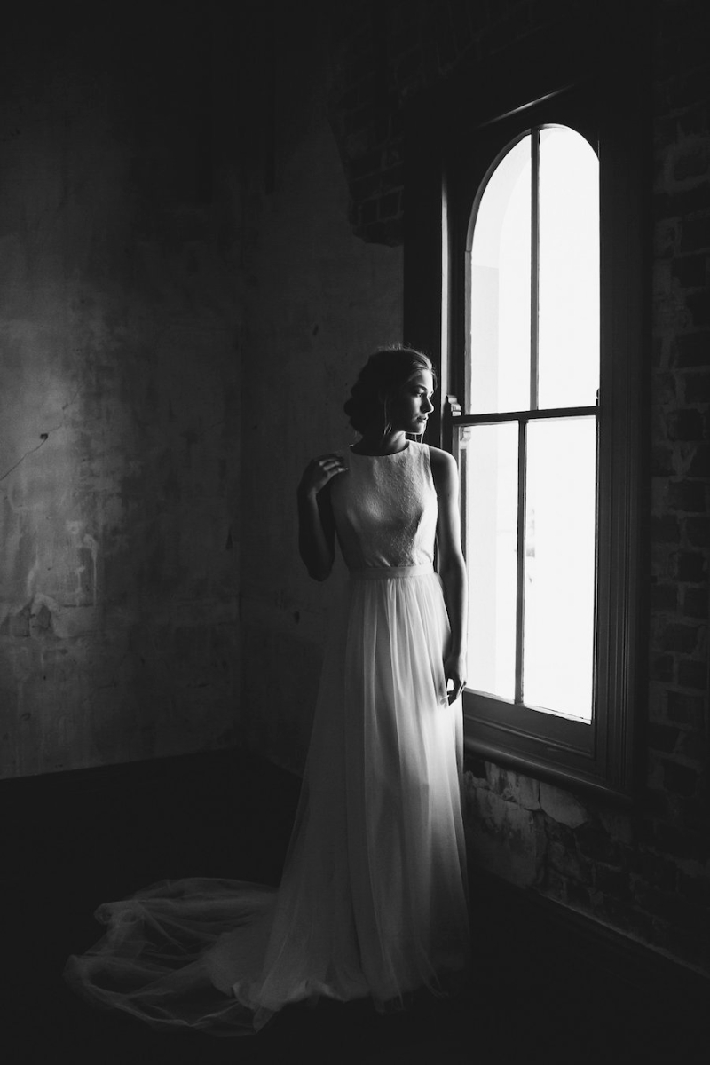Rosie Minimal Wedding Gown with Keyhole Back and Removable Tulle Skirt