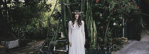 Soraya's Long Lace Sleeve Boho Wedding Dress
