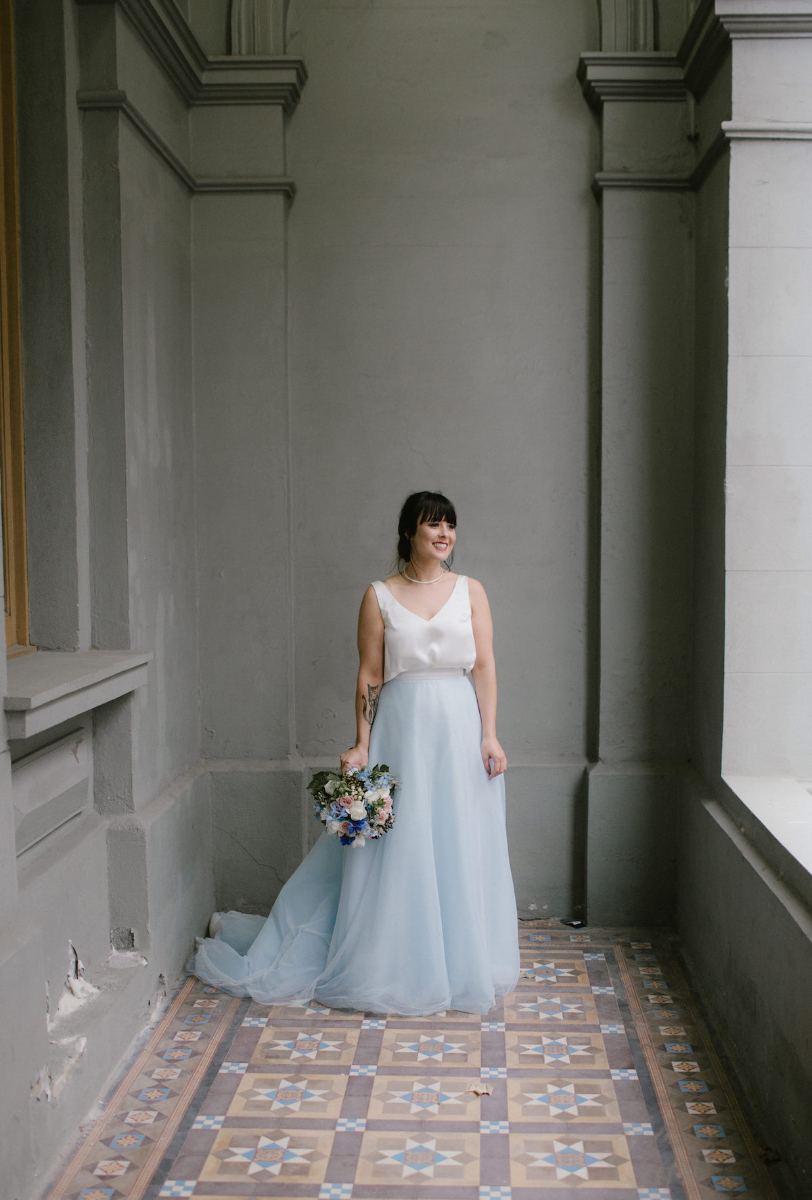 Elvi Design Blue Wedding Dress-525